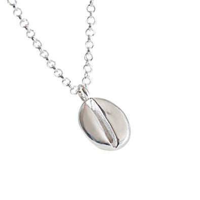 sterling silver coffee bean pendant neckalce