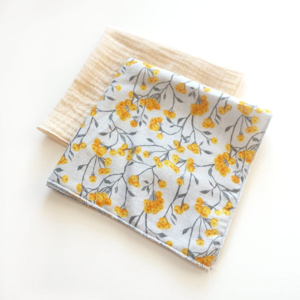 Ivory and yellow floral on grey muslin washcloths