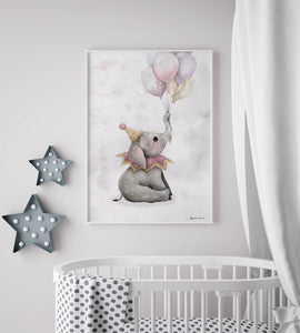 Elephant with balloons print