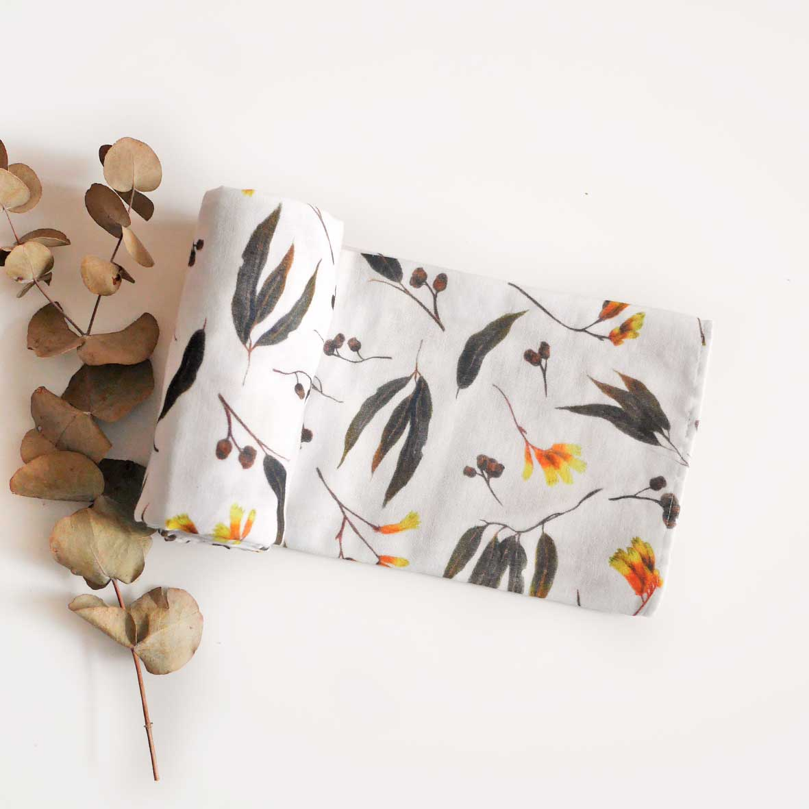 Gumnuts and Gold Cotton Muslin Wrap
