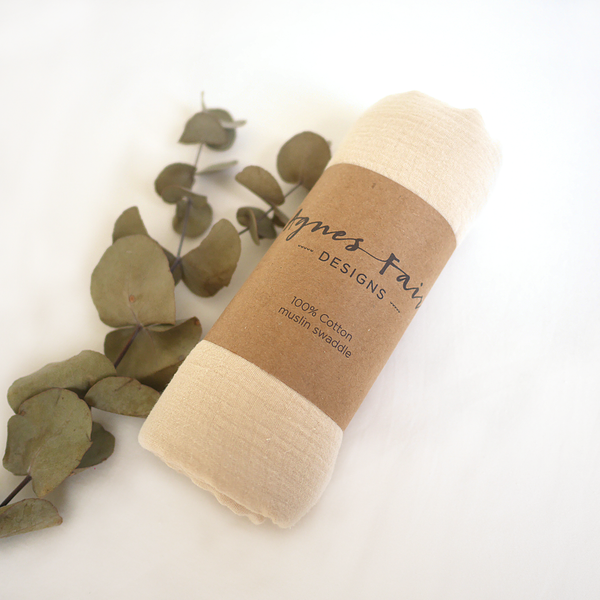 Ivory muslin wrap packaged