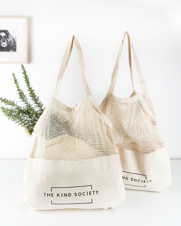 Mixed Mesh Tote Shopping Bag (2 totes)