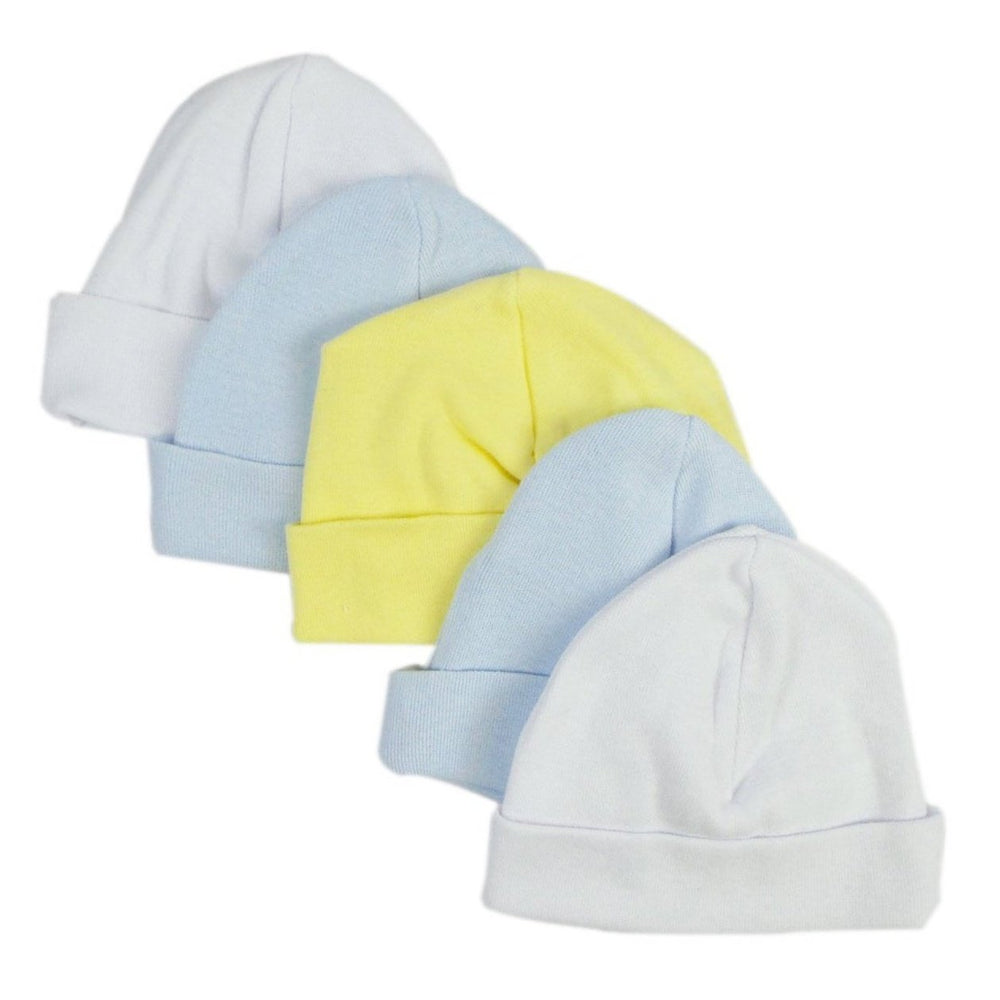 Infant Caps in White, Blue and Yellow (Pack of 5)
