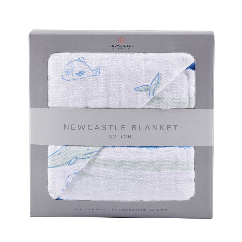 Whale and Ocean Stripe Newcastle Blanket