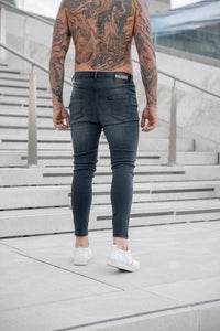 Grey Spray On Ripped and Repaired jeans