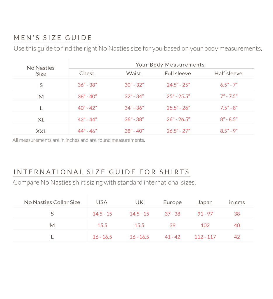 No Nasties Men's Size Chart