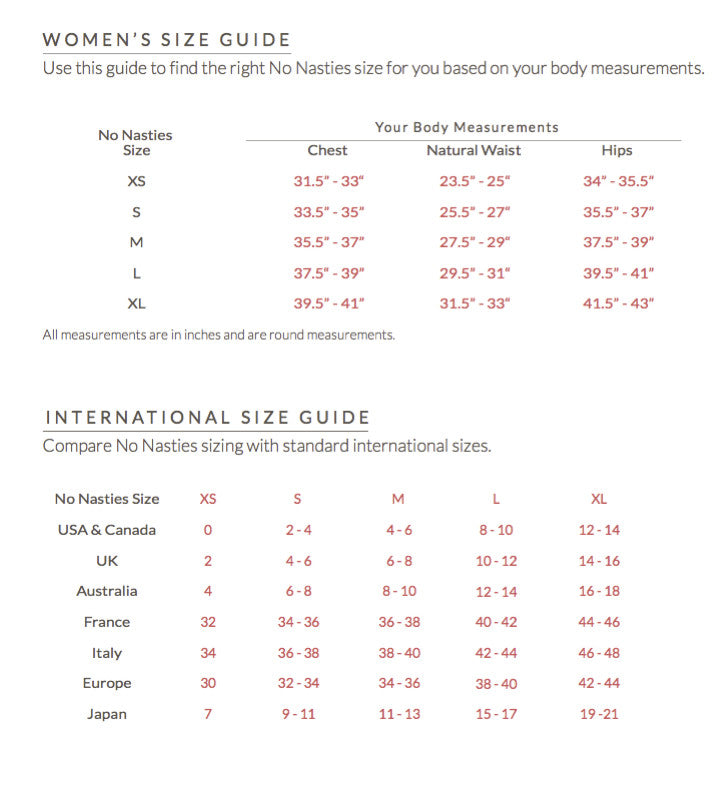 Size Chart - No Nasties - Organic Fairtrade Clothing, Made In India