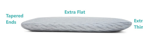 Thin Flat Blissbury Stomach Sleeping Pillow with tapered edges