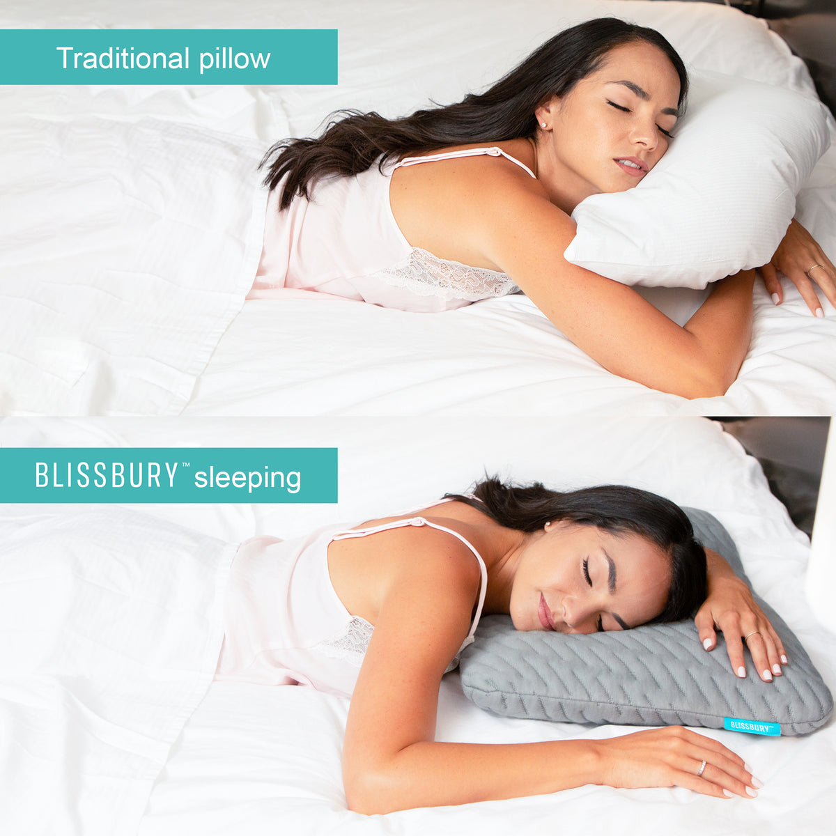 Blissbury Stomach Sleeping Pillow Extra Thin And Flat To