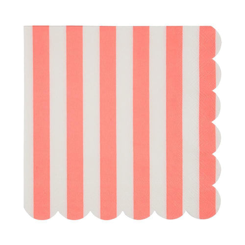 Coral Stripe Napkins (Large)