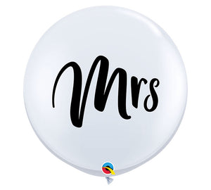 """MRS"" White Printed Balloon - Large 90cm"