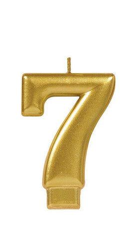 Number 7 Birthday Candle Gold