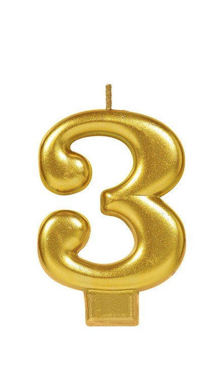 Number 3 Birthday Candle Gold