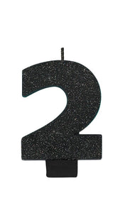 Number 2 Birthday Candle Glitter Black