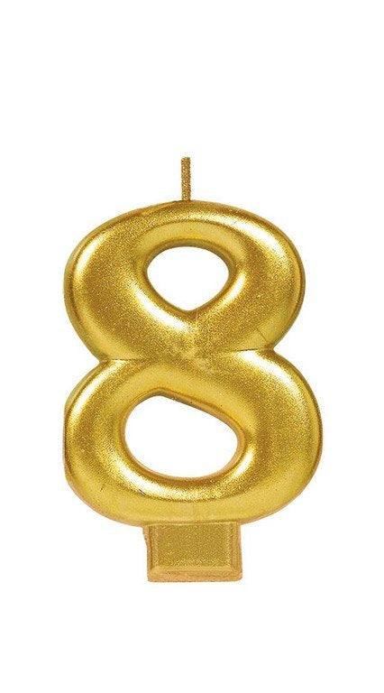 Number 8 Birthday Candle Gold
