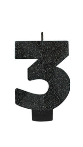Number 3 Birthday Candle Glitter Black