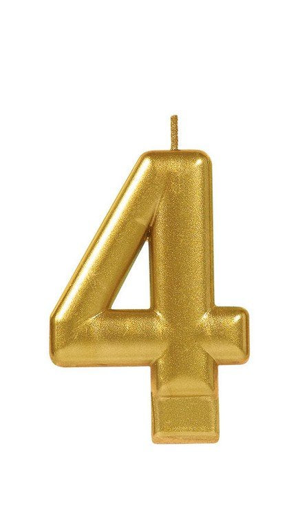 Number 4 Birthday Candle Gold