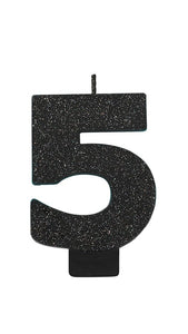 Number 5 Birthday Candle Black