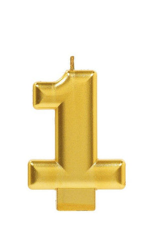 Number 1 Birthday Candle Gold