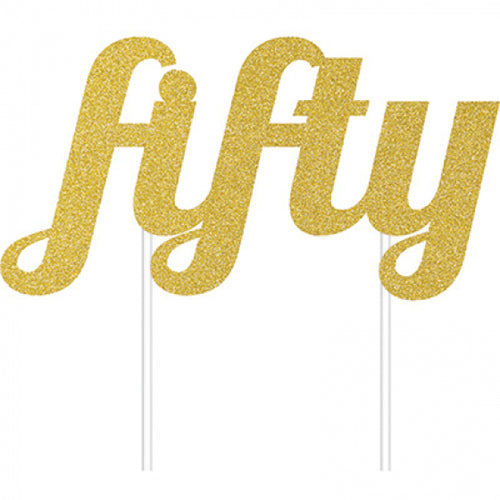 Cake Topper Fifty (Gold)