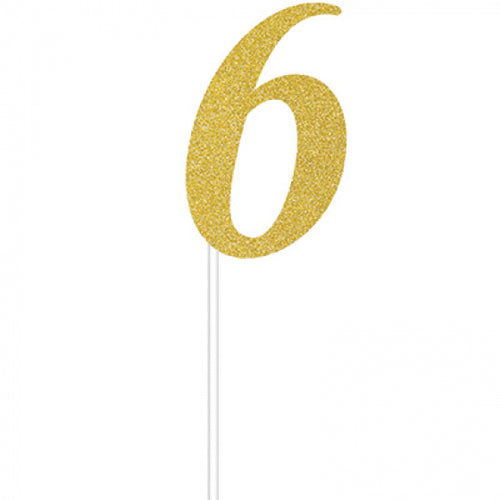 Cake Topper Number 6 (Gold)
