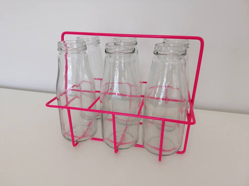 6 Milk Bottles & Hot Pink Crate - Hire
