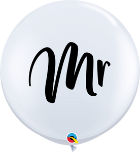 """MR"" White Printed Latex Balloon - Large 90cm"