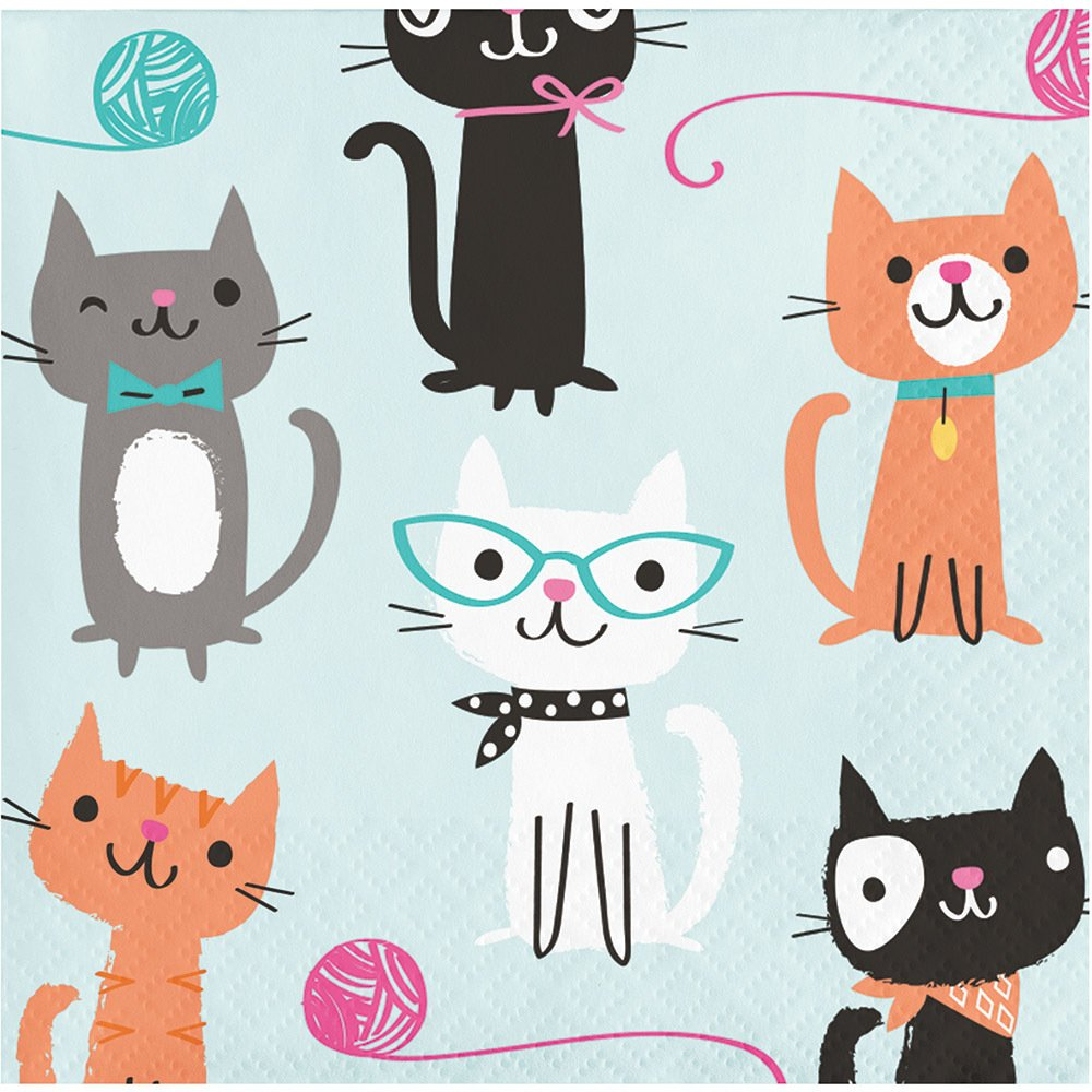 Purrfect Cat Party Napkins - Beverage Sized