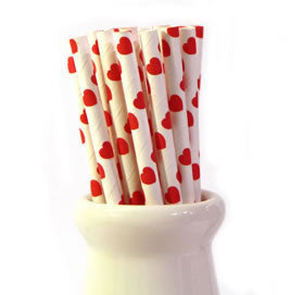 Vintage Paper Straws Red Hearts - 25 Pack