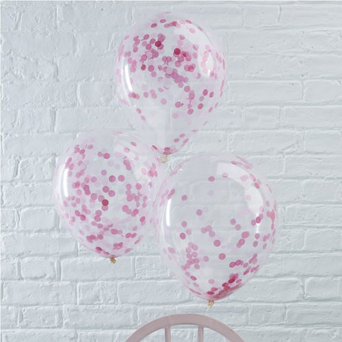 Pink Confetti Filled Balloons - 5 Pack