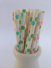 Vintage Paper Straws Rainbow Dot - 25 Pack