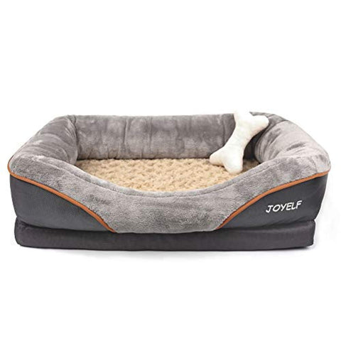 "Image of JOYELF Orthopedic Dog Bed Memory Foam Pet Bed with Removable Washable Cover and Squeaker Toy as Gift Large Size 38""X28"""