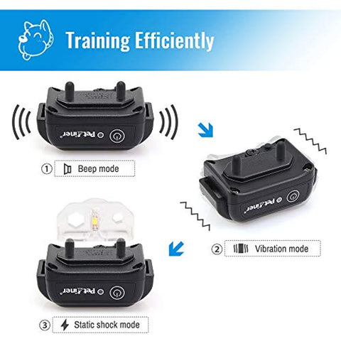 Petrainer 100% Waterproof Dog Shock Collar with Remote Dog Training Collar with Beep/Vibra/Shock Electric E-Collar, 300yd Range