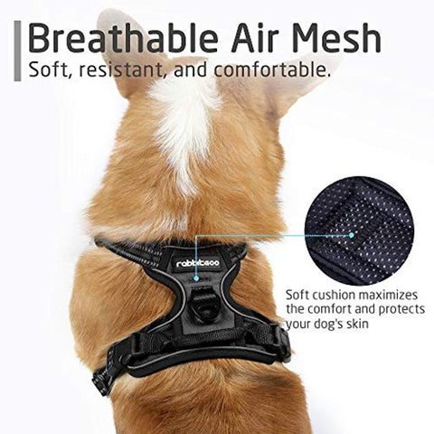 RABBITGOO Dog Harness No-Pull Pet Harness Adjustable Outdoor Pet Vest 3M Reflective Oxford Material Vest for Dogs Easy Control for Medium Dogs