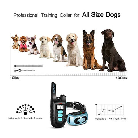PESTON Dog Training Collar with Remote Long Range up tp 1500ft Rechargable 100% Waterproof Electric Shock Vibration Beep Control Collar for Small Medium Large Dogs