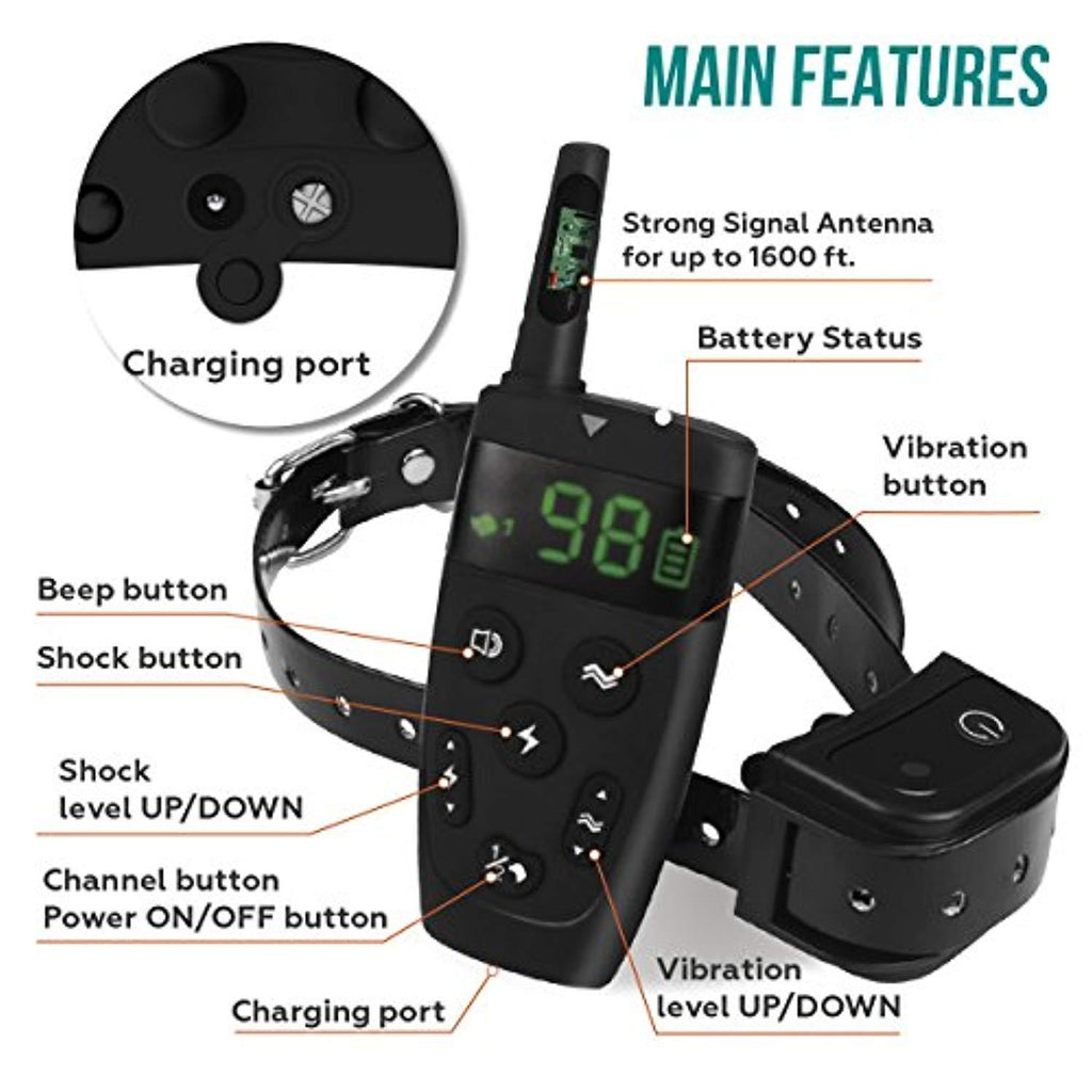 All-New 2019 Dog Training Collar with Remote | Long Range 1600', Shock, Vibration Control, Rechargeable & Ipx7 Waterproof