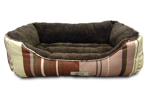 ASPCA Microtech Striped Dog Bed Cuddler, 28 by 20 by 8-Inch.