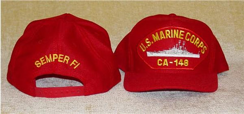 #05- USMC Ball Cap With 'USS Newport News' Ship's Silhouette & 'Semper Fi' On The Back