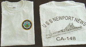 #20P & #21P- USS Newport News CA-148 - Gray T-Shirt With Pencil Drawn Logo On Back