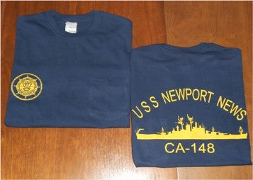 #22 & #23- USS Newport News CA-148 Navy T-Shirt With Logo & Ship's Silhouette On Back