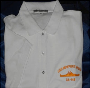 #27W- USS Newport News CA-148 Women's Golf Shirt - White