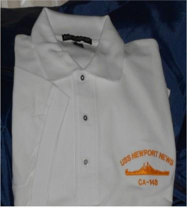 #27- USS Newport News CA-148 Men's Golf Shirt- White