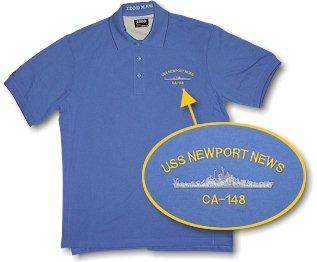 #28- USS Newport News CA-148 IZOD XFG No Pocket Golf T-Shirt - LIMITED QUANTITY