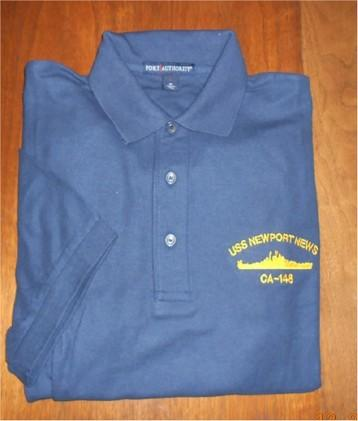 #29- USS Newport News CA-148 Men's Golf Shirt-Navy