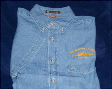 #41- USS Newport News CA-148 100% Cotton Short Sleeve Denim Shirt