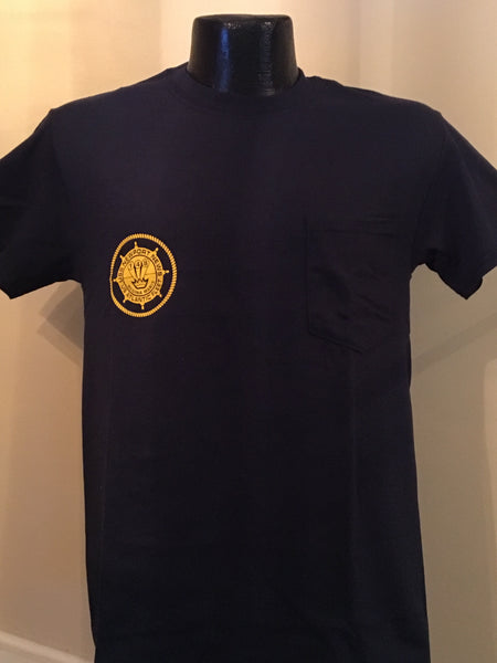#22P & #23P- USS Newport News CA-148 Navy T-Shirt With Logo & Pencil Drawing Of Ship On Back
