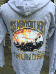 "#35- Hooded Sweatshirt ""THUNDER"" Gray & Navy"