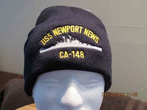 #04-USS Newport News Wool Watch Cap With Ship's Silhouette