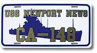#83- USS Newport News CA-148 Custom Metal Front License Plate