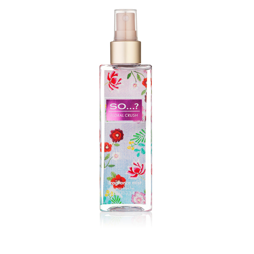 so...? floral crush spray 100ml,  so fragrance, eau de parfum, fragrance mist, perfume, body mist spray, perfume collection, cruelty free, body mist vanilla, eau de parfum spray, body perfume, so perfume, perfume mist,
